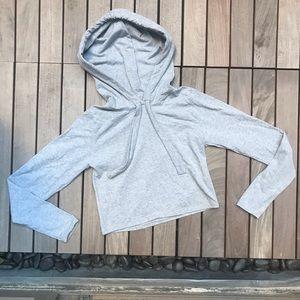 Rebdolls   Grey Long Sleeve Crop Top Hoodie